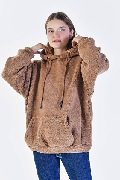 Addax Kadın Kahverengi Kapüşonlu Polar Sweat S0704 - X5 - X6