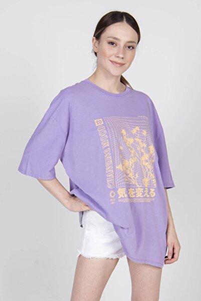 Addax Kadın Eflatun Baskılı Tişört P9438 - H5 ADX-0000022240
