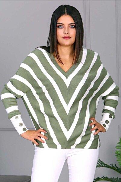 Madmext Kadın Yeşil V Yaka Desenli Triko Kazak Mg684