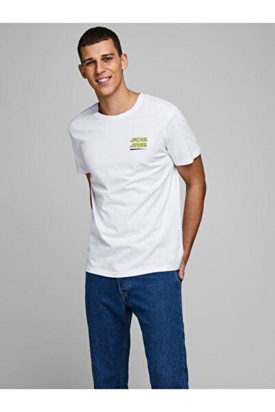 Jack & Jones Erkek Beyaz Minimal Logo Yarım Kol T-shirt