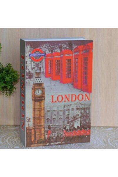 Hormiga London Desenli Kitap Şeklinde Gizli Kasa Anahtar Kilitli Sözlük Para Kumbarası