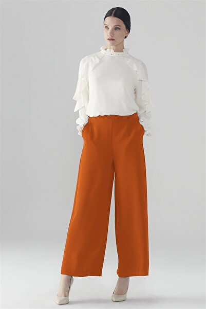 Zühre Geniş Paça Pantolon Oranj P-0013
