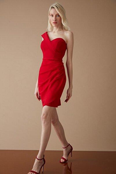 Keikei Kadın Kırmızı Krep Kısa Kol Kısa Elbise