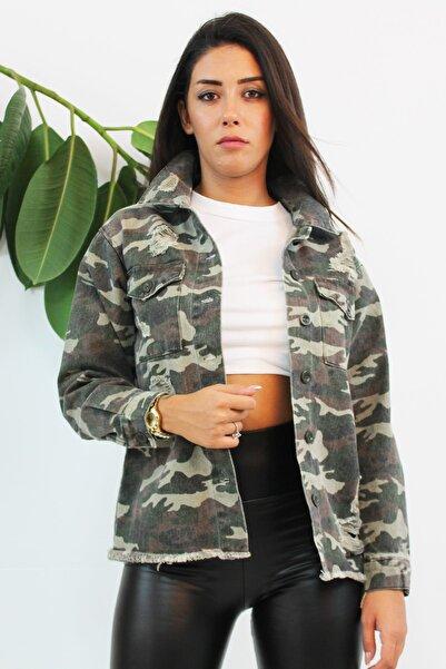 VENTİUP Kadın Yeşil Kamuflaj Desenli Jeans Ceket