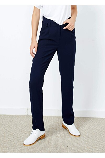 Adze Kadın Lacivert Yüksek Bel Cepli Pantalon