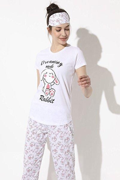 Arma Life Tavşan Baskılı Pijama Takımı - Beyaz