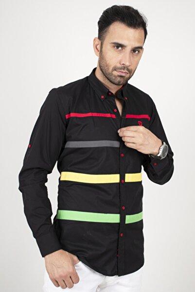 DeepSEA Siyah Şeritli Dar Kesim Erkek Gömlek 2002382