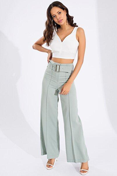 Mispacoz Kadın Mint İspanyol Paça Kemerli Pantolon