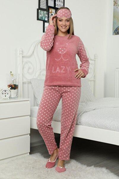 Pijamaevi Pembe Lazy Desenli Kadın Peluş Pijama Takımı