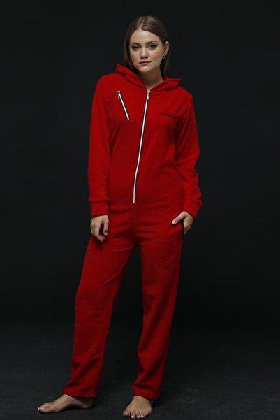 Pijamaevi Kırmızı Kadın Polar Peluş Tulum Pijama Takımı
