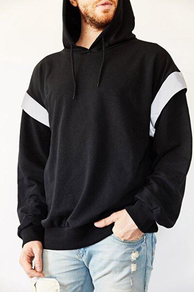 XHAN Siyah Reflektör Detaylı Oversize Bol Kesim Sweatshirt 0yxe8-44070-02