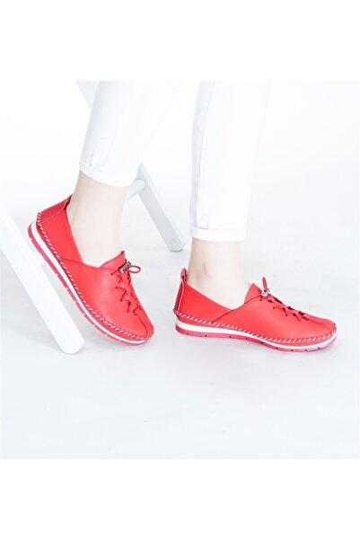 RİKEL DERİ Kadın  Hakiki Deri Ayakkabı  Kırmızı