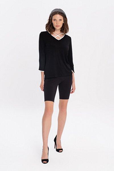 FLAMENCO Kadın Siyah Kontrast Beyaz Biyeli Pencere Yakalı Bluz