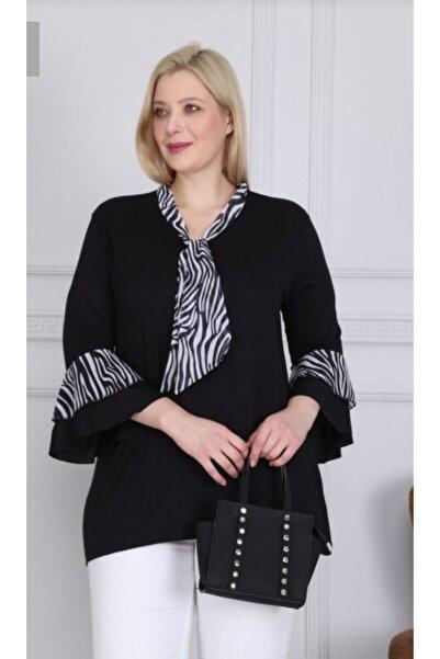 Leyla Giyim Kadın Zebra Şifon Kravatlı Bluz