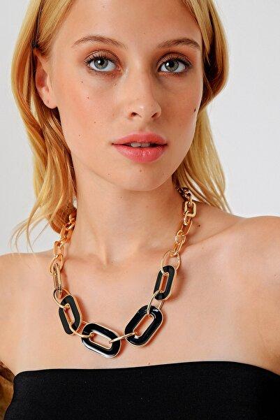 Trend Alaçatı Stili Kadın Gold Mineli Gold Zincir Kolye ALC-A1996