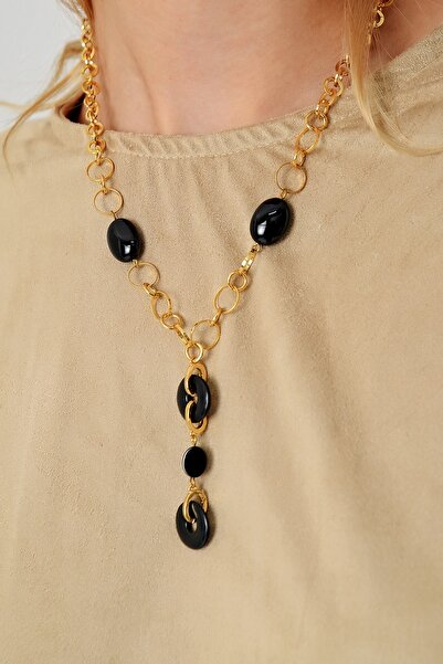 Trend Alaçatı Stili Kadın Gold Damla Taşlı Zincir Kolye ALC-A2001