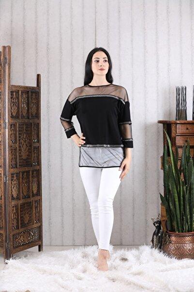 Milestone Kadın Siyah Tül Detaylı Bluz