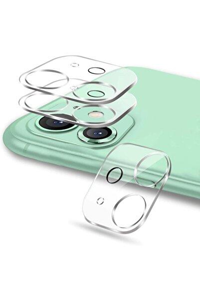 Wotechs Apple Iphone 11 Kamera Lens Koruyucu Tam Kaplayan Şeffaf