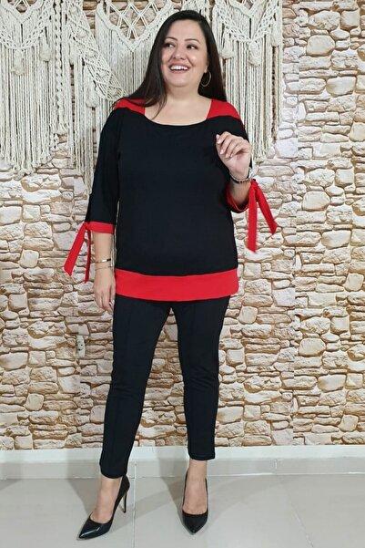 sinemisxxl Kolları Bağcıklı Kırmızı Siyah Viskon Bluz