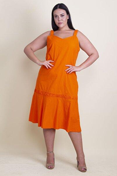 Şans Kadın Turuncu Askısı Lastik V Yakalı Koton Elbise 65N17882