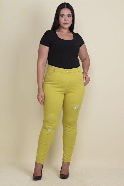 Şans Kadın Yeşil Taş Ve Yırtık Detaylı Likralı Pantolon 65N17889