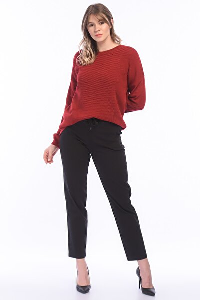 Kadın Siyah Likralı Bengalin Kumaş Pantolon 65N18123