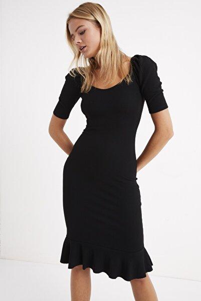 Cool & Sexy Kadın Siyah Eteği Volanlı Balon Kol Kaşkorse Maxi Elbise Yİ1896