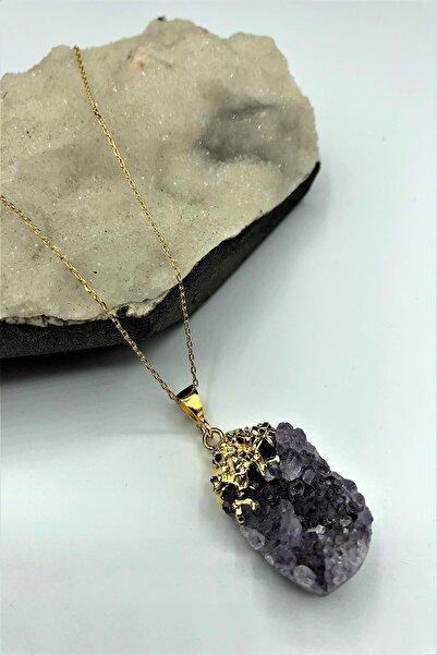 Dr. Stone Dr Stone A Kalite Ametisti Taşı El Yapımı 22k Altın Kaplama Gümüş Kadın Kolye Tlx1