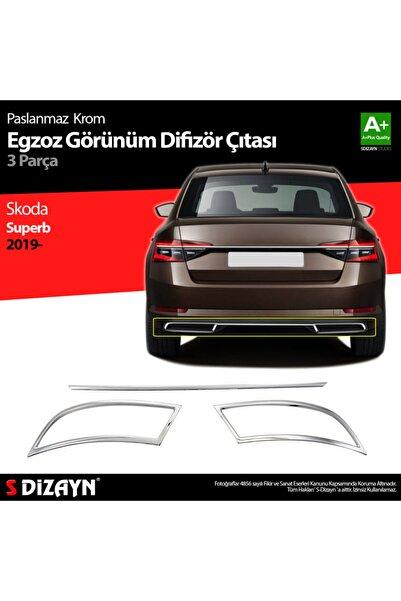 S Dizayn S-dizayn Skoda Superb Krom Egzoz Çıkışı 3 Parça Set 2020 Ve Üzeri