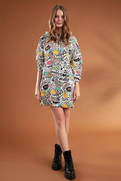Y-London Kadın Beyaz Grafik Desenli Kapşonlu Oversize Elbise Sweatshirt Y20W110-4125