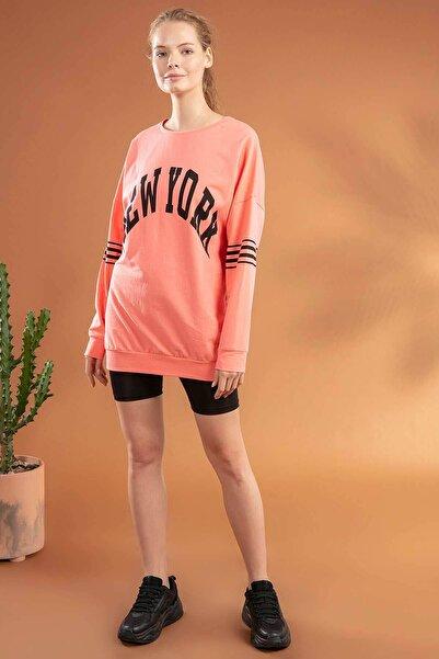 Y-London Kadın Somon New York Baskılı Boyfriend Örme Sweatshirt Y20W134-2066
