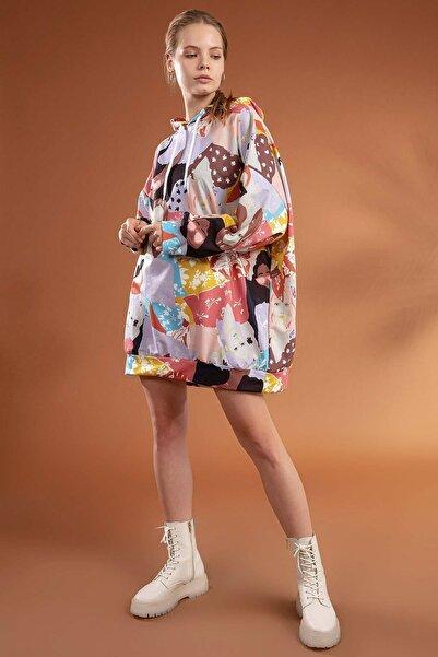 Y-London Kadın Lila Baskılı Kapşonlu Oversize Elbise Sweatshirt Y20W110-4125-4