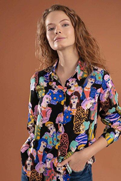 Y-London Kadın Siyah Desenli Gömlek Y20W110-3848