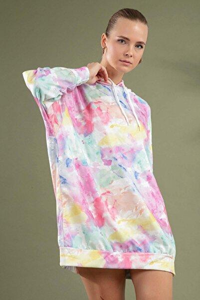 Y-London Kadın Beyaz Desenlli Kapşonlu Örme Sweatshirt Elbise Y20W110-4125-27