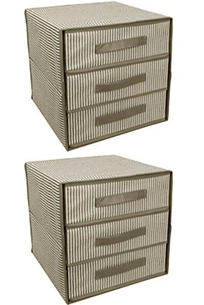 Keven Home 2 Adet - Üç Bölmeli Çok Amaçlı Çekmece - Çorap&iç Çamaşır Vb. Organizeri 32x32x32cm - Kahverengi