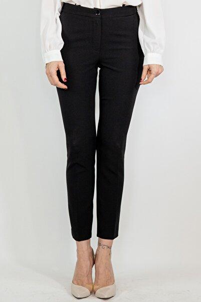 Lefon Kadın Siyah Cepli Kumaş Pantolon