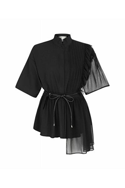İpekyol Kadın Siyah Kumaş Mixli Gömlek