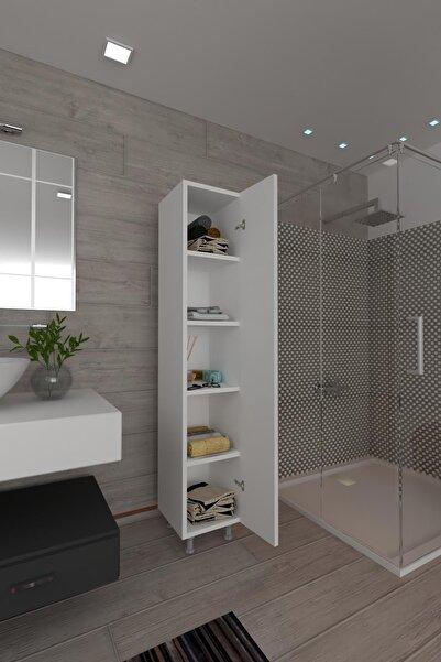 Koordinat Mobilya 5 Raflı Banyo Boy Dolabı Beyaz