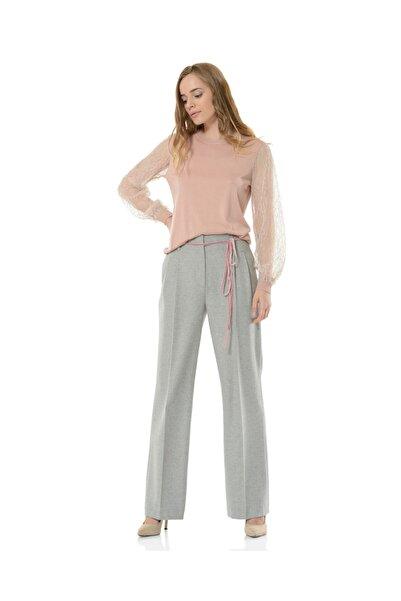 BİRELİN Kadın Gri Geniş Paça Pantolon