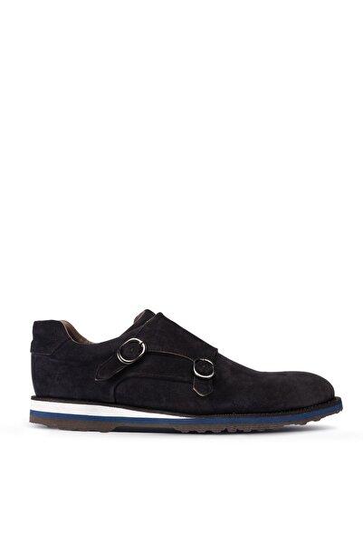 Deery Erkek Lacivert Hakiki Süet Çift Tokalı Günlük Ayakkabı