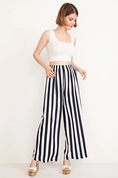 Mercan Kadın Lacivert Bel Lastikli Geniş Pantolon