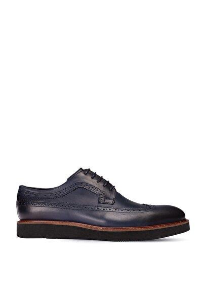 Deery Erkek  Mavi Hakiki Deri Günlük Ayakkabı