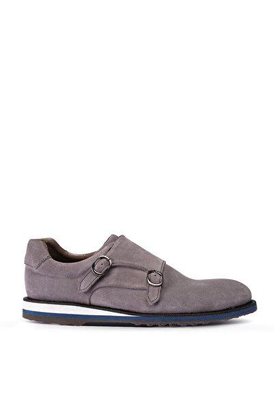 Deery Erkek Gri Hakiki Süet Çift Tokalı Günlük Ayakkabı