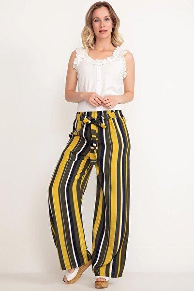 Mercan Kadın Sarı Desenli Bol Paça Pantolon