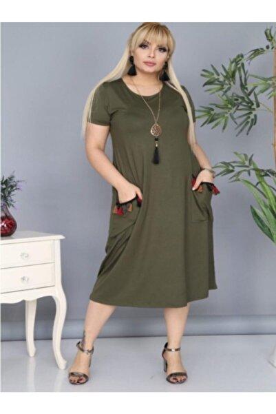 Şirin Butik Kadın Haki Cepleri Püsküllü Viskon Likralı Elbise