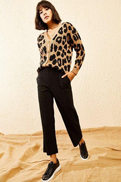 Bianco Lucci Kadın Siyah Beli Lastikli Cepli Triko İspanyol Paça Pantolon 10121083