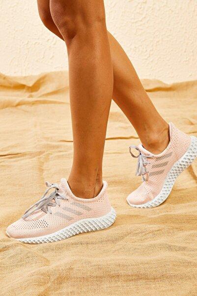 Bianco Lucci Kadın Pudra Rahat Triko Örme Ayakkabı AYKB001