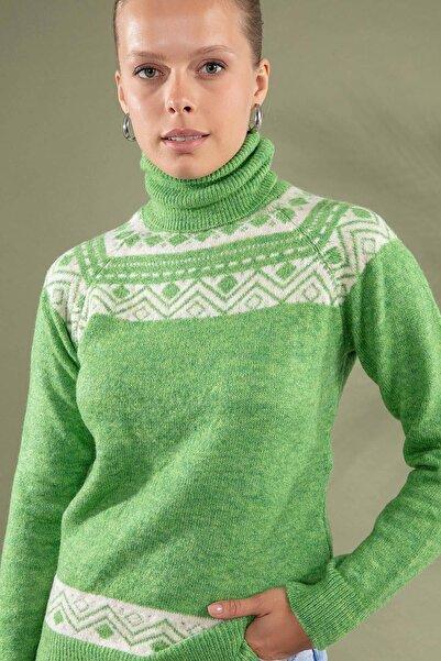 Y-London Kadın Yeşil Boğazlı Triko Kazak Y19W109-80122
