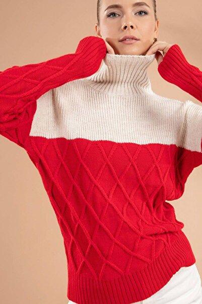 Y-London Kadın Kırmızı Baklava Desen Boğazlı Triko Kazak Y19W109-80129