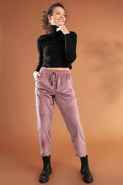 Y-London Kadın Gül Kurusu Beli Lastikli Bağcıklı Cepli Fitilli Kadife Pantolon 39584 Y19W109-39584